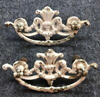 """2 Antique French Provincial Drawer Pulls Shabby Chic Restoration Part 3""""CenterAA"""