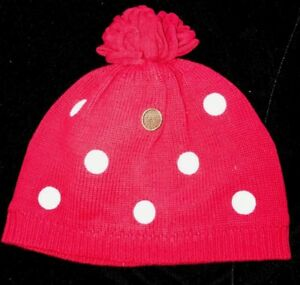 girls size 2T to 5T red GYMBOREE KNIT WINTER HAT polka dots TASSEL TOP lined WOW