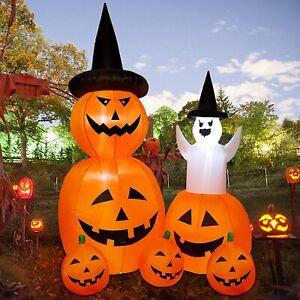7FT Inflatable Halloween Decorations Pumpkin Ghost Blow Up Yard Outdoor Decor