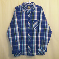 Enyce Sean Combs Button Front Shirt Men's XL Multicolor Plaid Long Sleeve