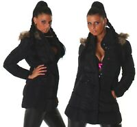 Giubbotto donna invernale giubbino slim fit piumino lungo cappuccio staccabile