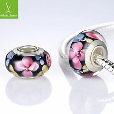 925 Sterling Silver Murano Glass Bead Charm Fitted European Bracelet