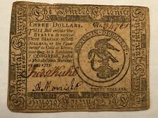 Colonial Continental Currency $3 note Nov 29 1775. serial 34751 #rr11