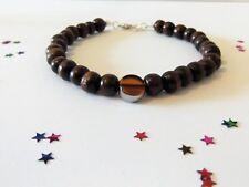 Classy Men's Brown Wood Bead Bracelet