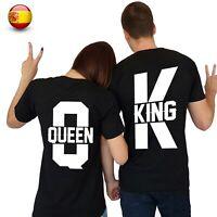 2 Camisetas Rey y reina Top King queen, Camisetas de Pareja Algodon Modelo 2019