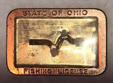 Vintage State Of Ohio Fishing License Metal Frame Pinback Holder