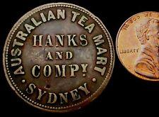 T875: 1857 Australia Token - Australian Tea Mart, Hanks & Compy., Sydney