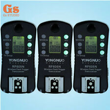 3x Yongnuo Wireless Flash Trigger Transceiver RF-605N LCD For Nikon RF 603 602