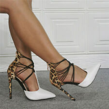 Womens Mixed Colors Leopard Pointed Toe T-strap Stilettos High Heels Pump Shoes
