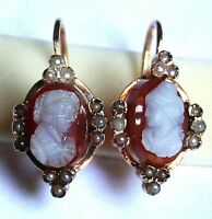 ANTIQUE FRENCH VICTORIAN 18K R GOLD AGATE CAMEO HAND CARVED PEARL EARRINGS c1860