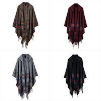 Mens Womens Wool Blend Hooded Shawl Cloak Stripe Gypsy Hippie Cape Poncho Retro%
