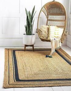 Jute Rug Runner Natural Braided style Rug Reversible Rustic look Area Carpet Rug