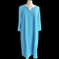 DENIM & Co. Plus Size 3X Turquoise 3/4 Sleeve Split V-neck Pocket Striped Dress