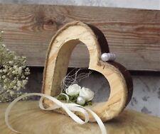 Ringkissen Ringhalter Kunstleder Herz stehend für Eheringe Hochzeit aus Holz