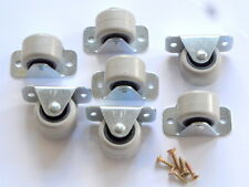 30 RIGID FIXED CASTORS WHEELS CASTERS 30MM FOR FURNITURE BEDS  DRAWERS BOXES
