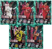 Match Attax 2020/21 Champions League Set of 5 Hat-Trick Hero cards inc Haaland