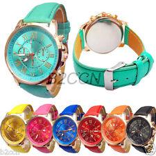 New Women Watch Analog Romen Numerals Faux Leather Band Sport Quartz Wrist Watch