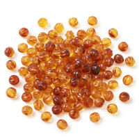 200pcs 7.5mm Acrylic Pumpkin Beads Corrugated Imitation Amber Tiny Loose Spacers