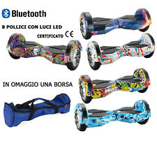 "HOVERBOARD ELETTRICO 8"" POLLICI LED SPEAKER BLUETOOTH OVERBOARD SMART BALANCE"