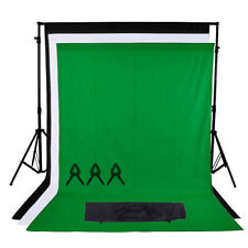 Photo Studio Black Green White Backdrop Chroma Key Screen Background Stand Kit
