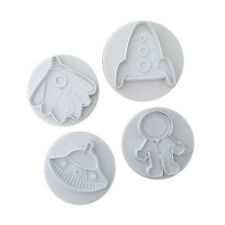 4pcs outer space shape cookie cutters cake decorating tool plunger new. CL