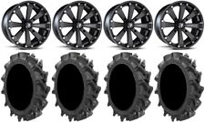 "MSA Black Kore 14"" UTV Wheels 31"" MotoHavok Tires Can-Am Maverick X3"
