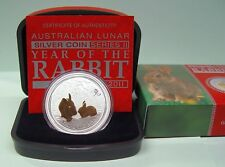 Australien Lunar II 1 oz AG Jahr des Hasen Year of the Rabbit vergoldet COA+Box