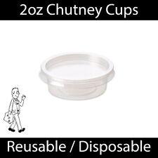 More details for 2oz clear plastic chutney cups lids sauce pots deli dessert condiment reusable