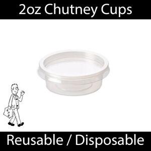 2oz Clear Plastic Chutney Cups Lids Sauce Pots Deli Dessert Condiment Reusable