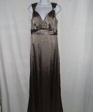 ba8c86ba7cba0 Brown Mocha Bronze Stretch Silky Evening Bridesmaid Long Maxi Dress Size 8 M