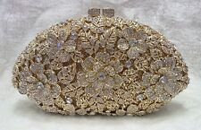 Gold Clear Vintage Flower Handmade Austrian Crystal Evening Cocktail Bag