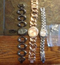 Lot Of 3 Women's Bling Rose Gold Dark & Lt. Silver Band Watches Xoxo Valletta