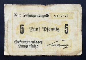 Germany 5 Pfennig POW Banknote~WW1, 1914-1918 Langensalza Camp, Fine, S/N 157579