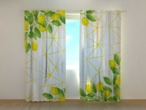 Curtain Printed Watercolour Lemons on Golden Pattern by Wellmira Made to Measure