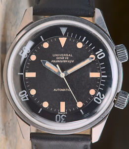 Hands Universal Geneve Polerouter Sub Diver cal 215 Automatic Watch Vintage Rare