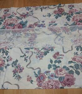 Croscill Elizabeth Gray Victoria Blouson Straight Valance Lace Floral VTG USA
