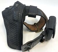 VTG Basketweave Leather Gould Goodrich Safariland Cuff Duty Belt Holster B501