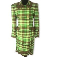 Vtg Oscar de la Renta Studio RARE Plaid Double Breasted Jacket Wrap Skirt Suit