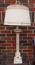Large Vintage Ivory Color Gold Hand Painted Tole Desk Table Metal Lamp