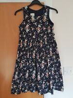 girl LAURA ASHLEY dress needle cord navy floral age 7 8 9 years