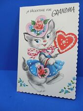 "Valentine Card Vintage Unused ""A Valentine For Grandma"" Card/env. - Free Ship"