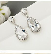 Wedding Bridal White Platinum Plating Clear Teardrop Crystal Zirconia Earrings