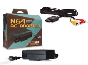 Nintendo 64 Power Supply AC + AV Cable Cord N64 System Console Hookups Lot *NEW*