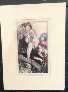 Original Vintage 1910 Matted Print A Rackham Gullivers Travels Frog Encounter