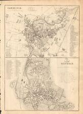 1863  LARGE ANTIQUE MAP - DISPATCH ATLAS- CITY PLAN- CAMBRIDGE & OXFORD