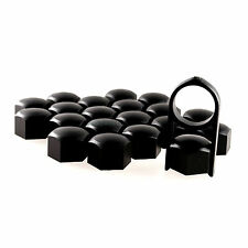 19mm Black Alloy Car Wheel Nuts Bolts Covers Caps For Any Car - Set of 20 pcs