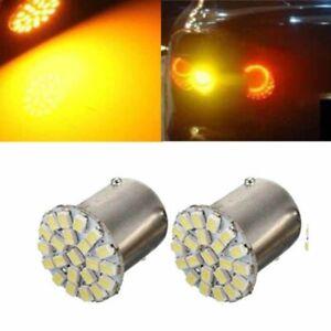2pc 1156 BA15S 22SMD 1206 Amber LED Car Truck Backup Reverse Turn Light Lamp NEW