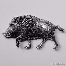 Charging Boar Pewter Pin Brooch -British Artisan Made-Pig Hunting Wild Boar  A71