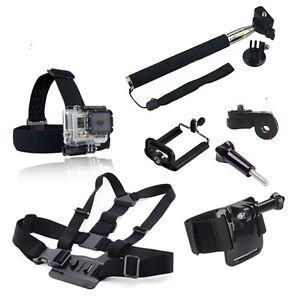 For Go pro 9 Sj4000 Accessories Head Belt Chest+Belt rist Strap+Handheld Monopod