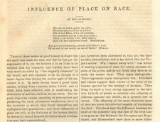 Influence Of Place On Race, by Gualtier Vintage, 1852  Original Antique Article,